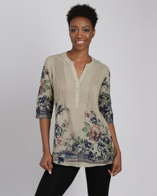 Queenspark 1/4 Placket Blossom Beauty 3/4 Sleeve Shirt Fatigue