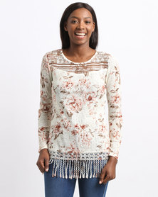 Queenspark Fey Printed Flower Lace Fashion Knit Top Pink