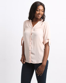 Queenspark Smart Plain Woven Shirt Peach