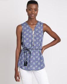 Queenspark Printed Sleeveless Woven Shirt with Zip Neckline Blue
