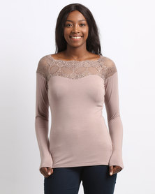 Queenspark Marilyn Lace Trim Core Knit Top Taupe
