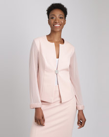 Queenspark Charlene Diamante Trim Woven Jacket Peach