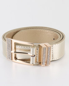 Queenspark Double Diamante Keeper Belt Gold