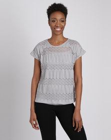 Queenspark Lace Look Woven Blouse Grey