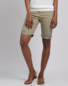 Queenspark Lace Trim Woven Denim Shorts Fatigue