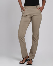 Queenspark Long Stretch Woven Trouser With Front Button Detail Fatigue
