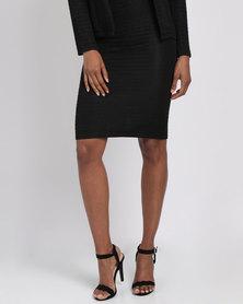 Queenspark Ripple Effect Knit Skirt Black