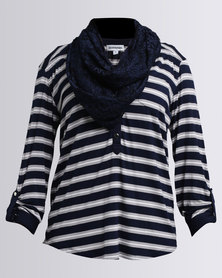 Queenspark Stripe Fashion Knit Top With Snood Navy