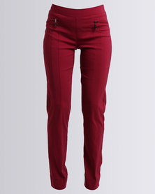 Queenspark Long Woven Stretch Trouser With Zip Details Red