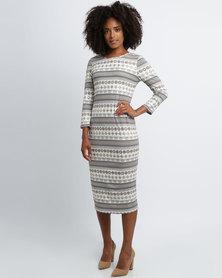 Queenspark Milk & Gold Print Knit Dress Gold