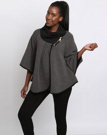 Queenspark Cape Knit Coat Charcoal