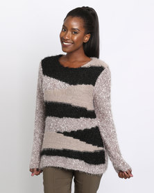 Queenspark Cath.Nic Striped Interest Knitwear Taupe