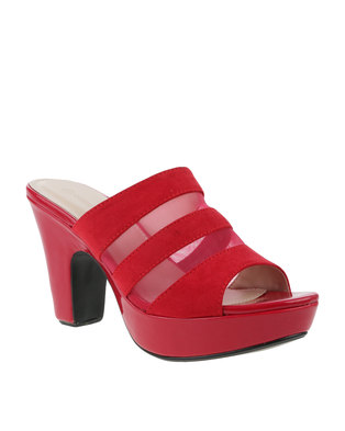 Queenspark Micro Fibre And Net On Best Patent Heel Red