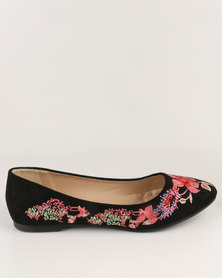 Queenspark Pretty Embroidery Pump Black