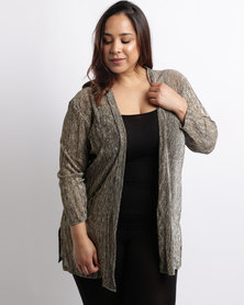 Queenspark Plus Lurex Waterfall Knit Gold