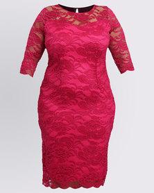 Queenspark Plus Styled Lace Knit Dress Cerise