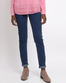 Queenspark Cath.Nic Fancy Detailed Woven Denim Jeans Indigo