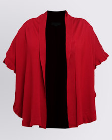 Queenspark Plus Styled Frill Knitwear Cardigan Red
