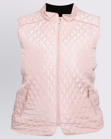 Queenspark Plus Sleeveless Woven Puffer Jacket With Double Zips Pink