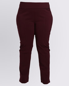 Queenspark Plus New Pull On Seam Detail Woven Pants Burgundy