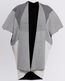Queenspark Plus Large Check Cardigan Grey