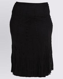 Queenspark Plus Crushed Mesh Knit Skirt Black