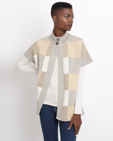 Queenspark Check Tabard Style Knitwear Camel