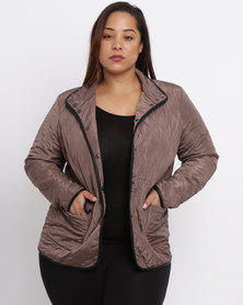 Queenspark Plus Casual Woven Quilted Puffer Jacket Mocha
