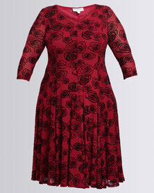 Queenspark Plus Flared Burnout Knit Dress Berry