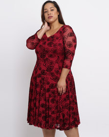 Queenspark Plus Flared Burnout Knit Dress Berry