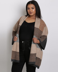 Queenspark Plus Check Short Sleeve Knitwear Cardigan Brown