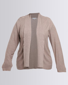 Queenspark Plus Shorter Length Ribbed Knit Cardigan Taupe