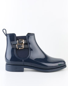 Queenspark Double Buckle Ankle Boot Jelly Blue