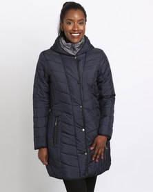 Queenspark Longer Length Woven Puffer Jacket With Contrast Navy