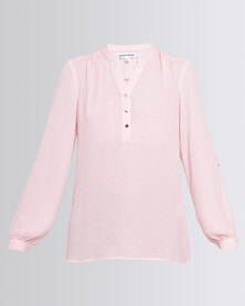 Queenspark Long Sleeve Woven Casual Shirt With Roll Up Sleeve Pink