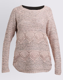 Queenspark Cath.Nic Soft  Lace Inset Jersey Pink
