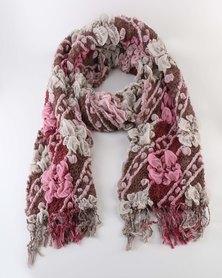 Queenspark Pretty Textured Scarf Pink