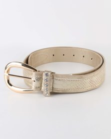 Queenspark Metallic Croc And Distressed PU Belt Gold-tone