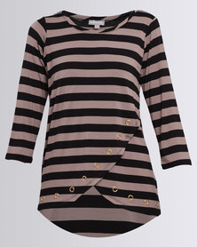 Queenspark Eyelet Detail Stripe Knit Top Black