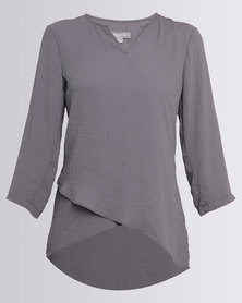Queenspark Cross-Over Airflow Woven Blouse Charcoal