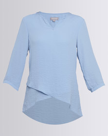 Queenspark Cross-Over Airflow Woven Blouse Blue