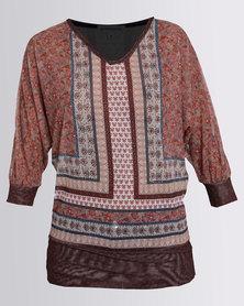 Queenspark Boho Printed Mesh Fashion Knit Top Camel