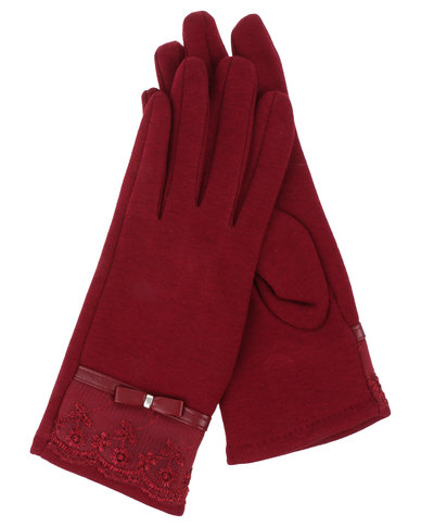 Queenspark Lace Trim Knit Gloves Berry