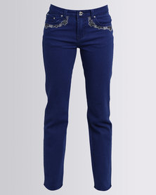 Queenspark Woven Denim Programme Jeans With Embroidery Blue
