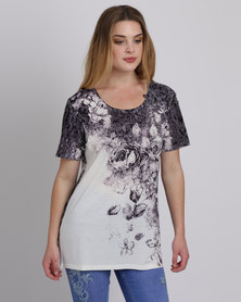 Queenspark 3D Floral Knit Top Taupe