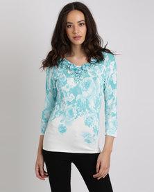 Queenspark 3D Rose Printed Knitwear Top Aqua
