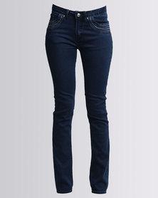 Queenspark Cath.Nic Diamante Detailed Woven Denim Jeans Blue