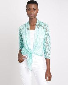 Queenspark Butterfly Devore Design Knit Cover Up Mint