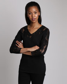 Queenspark Lace Inset Knitwear Top Black
