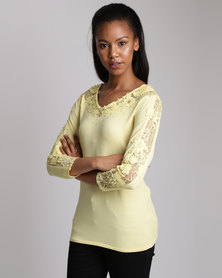 Queenspark Lace Inset Knitwear Top Yellow